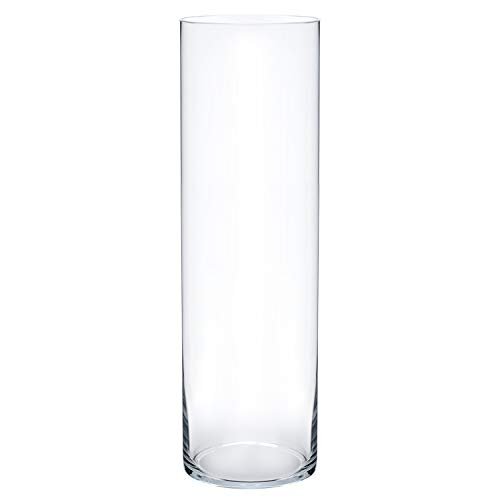 Royal Imports Flower Glass Vase Decorative Centerpiece for Home or Wedding Cylinder Shape, 16