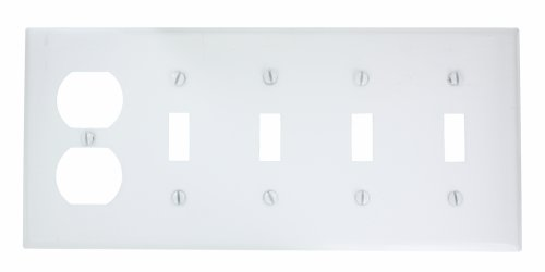 Leviton P48-W 5-Gang 4-Toggle, 1-Duplex Device Combination Wallplate, Painted Metal, Device Mount, White