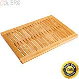 COLIBROX--Bamboo Shower Mat Bathroom Bath Floor Mat Spa Sauna Non-Slip and Mold Resistant. bamboo shower mat for inside shower. bamboo bathtub mat. bamboo shower mat reviews. best bath mat amazon.
