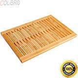 COLIBROX--Bamboo Shower Mat Bathroom Bath Floor Mat Spa Sauna Non-Slip and Mold Resistant. bamboo shower mat for inside shower. bamboo bathtub mat. bamboo shower mat reviews. best bath mat amazon.