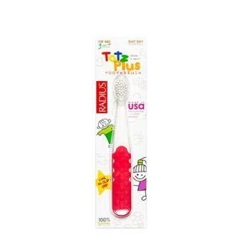 接ぎ木加速する表示Totz Plus ベビー用歯ブラシ 対象:3歳以上 ホワイト&ピンクコーラル RADIUS(ラディアス)[海外直送品]