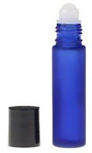 Cobalt Blue Aromatherapy Frosted Glass Roll On Bottles-10ml(1/3oz) Essential Oil/Perfume Travel Roll-On Bottles(6 Pack)