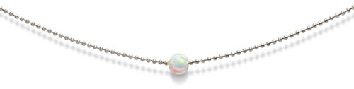 Opal Necklace - 14k White Gold Inspire White Fire Opal Gold Plated Ball Chain Necklace Celeb-Approved