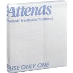 """Attends Supersorb Advanced, Premium Underpads with Dry-Lock Technology, Adult Incontinence Care, 30""""x36"""" , 5 Count (Pack of 12)"""