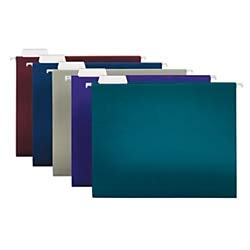 (Office Depot 2-Tone Hanging File Folders, 1/5 Cut, 8 1/2in. x 11in, Letter Size, Assorted Colors, Box of 25, OD81667)