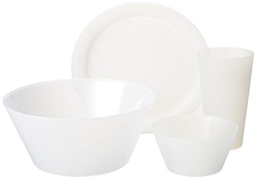 "Creative Bath CH623 My First Dorm/Apartment Plastic Dish Set, 20"", Frost White"