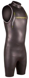 NeoSport Men's John Triathlon Short Sleeve Wetsuit, Black/Yellow, X-Large - Triathalon, Swimming & Racing