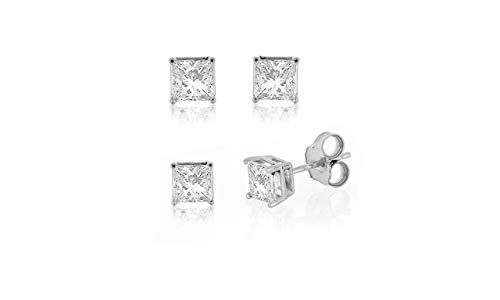 IGI Certified 10k White Gold 0.10ct to 2ct Princess Diamond Stud Earring (H-I, I2-I3)