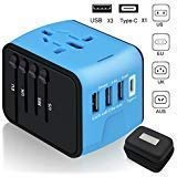 Travel Adapter,6Feeki International Power Adapter All-in-one USB Travel Adapter Universal adapter with 3-port USB Charger AC Wall Outlet Plugs For business travel of US, EU, UK, AU,150countries ()