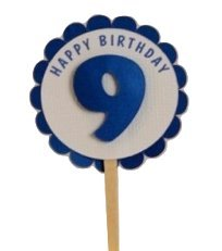 All About Details Shimmer Blue 9th Birthday Cupcake Toppers, Set of 12 by All About Details (Image #3)