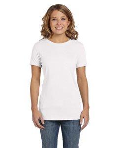 Bella Ladies Super soft 1x1 baby rib knit fabric T Shirt - White - (Rib Boatneck)