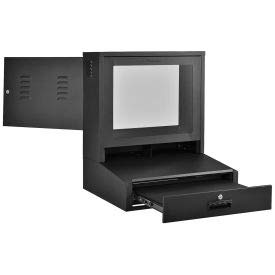 - LCD Counter Top Security Computer Cabinet, Black, 24-1/2