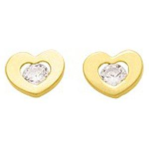 So Chic Bijoux © Boucles d'oreilles Femme Fille Coeur & Oxyde de Zirconium Blanc Or Jaune 750/000 (18 carats)