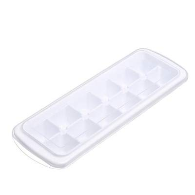 Sonita3008 Ice Tray with Lid Ice Cube Tray Plastic Reusable Ice Cubes Mold Square Shape 12-Ice DIY Fruit Ice Cream Maker with Removable Lid
