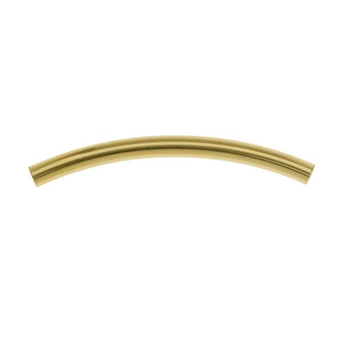 100pcs Top Quality Curved Noodle Tube Spacer Beads 25mm Gold Plated Brass for Jewelry Craft Making CF196