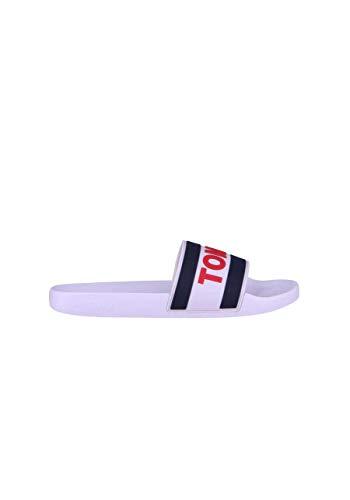 Pour Claquettes Jeans Blanc À Blanches Tommy Rouge Homme Logo 64PUYw5Wq