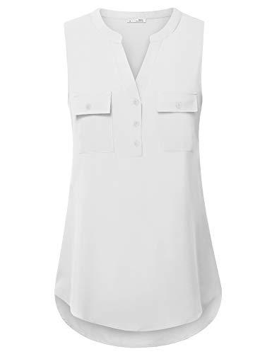 Messic Women's V-Neck Blouses 3/4 Roll-up Sleeve Button Casual Chiffon Tunic Shirt (05White, Medium)