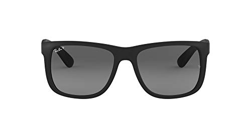 Ray-Ban RB4165 Justin Rectangular Sunglasses, Black Rubber/Polarized Grey Gradient, 55 mm