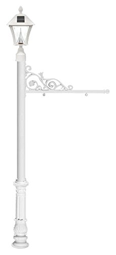 Qualarc REPST-700-WHT-SL Prestige Powder Coated Aluminum Real Estate, Business and Yard Sign, with Bayview Solar Lamp & Ornate Base in White, Ships in 2 (Bayview Solar Light)
