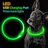 (Led Dog Collar, USB Rechargeable Flash Dog Necklace Light, Pet Safety Collar Makes Your Beloved Dogs Be Seen at Night for Small Medium Large Dogs)