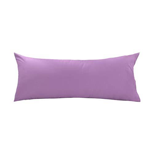 uxcell Body Pillow Case Pillowcase Cover, Egyptian Cotton, 250 Thread Count, Non-Zippered for Your 20 x 54 Body or Pregnancy Pillow, Lilac, 1-Piece