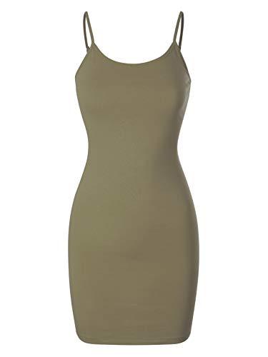Design by Olivia Women's Casual Sleeveless Spaghetti Strap Stretch Cami Slip Bodycon Short Mini Dress Light Olive M