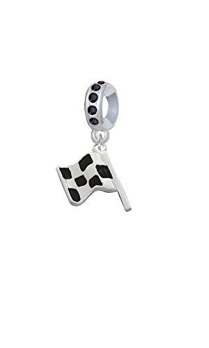 Nascar Charm - Silvertone Checkered Race Flag - Black Crystal Charm Bead