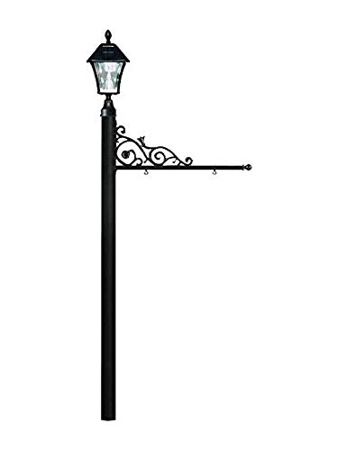 Qualarc REPST-000-BL-SL Prestige Powder Coated Aluminum Real Estate, Business and Yard Sign, with Bayview Solar Lamp in Black, Ships in 2 boxes ()