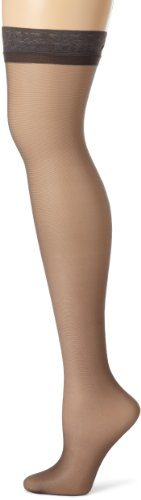 - Hanes Women's Silk Reflections Thigh Highs, Barely Black, A/B