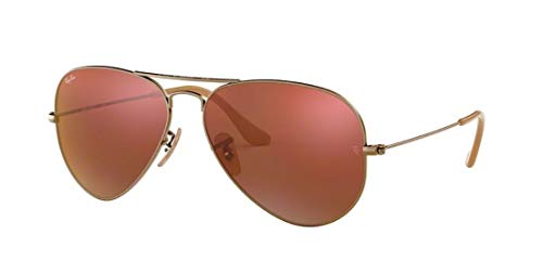 (Ray Ban RB3025 AVIATOR LARGE METAL 167/2K 58M Demiglos Brushed Bronze/Red Mirror Sunglasses For Men For Women)