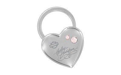 Harley-Davidson Pink Crystal Heart Metal Key Chain