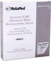 Reliamed 4''X4.75'' Silver Alginate/Cmc Blend,10/Box
