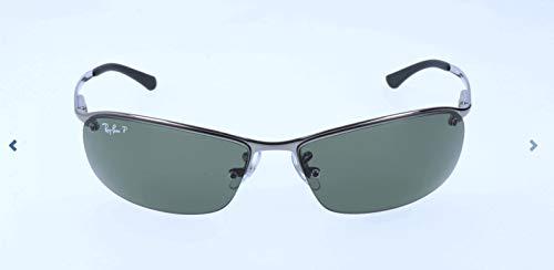 (Ray-Ban Men's RB3183 Rectangular Metal Sunglasses, Gunmetal/Polarized Green, 63 mm)