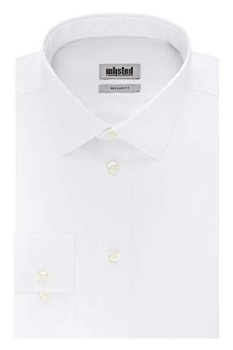 Unlisted by Kenneth Cole Men_s Regular Solid Dress Shirts  White  17_-17.5_ Neck 34_-35_ Sleeve