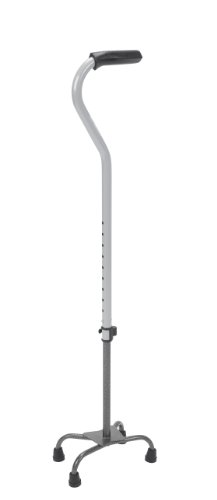 Drive Medical Small Base Quad Cane with Tab Loc Silencer and Triangular Padded Hand Grip, Silver Vein, Small Base