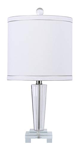 Grandview Gallery 19.25 Modern Genuine Crystal Accent Lamp ft. Crystal Finial and White Linen Drum Shade with Double Silver Edged Self-Trim – Glam Lighting for The Bedroom, Living Room, and Office