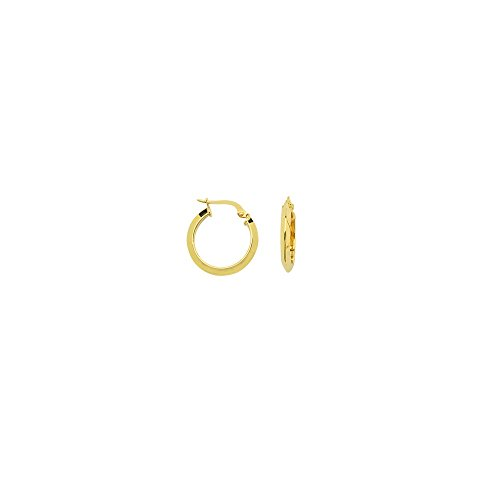 14k Yellow Gold Small High Polished Triangle Tube Hoop Earrings 14k Yellow Gold Triangle Hoop