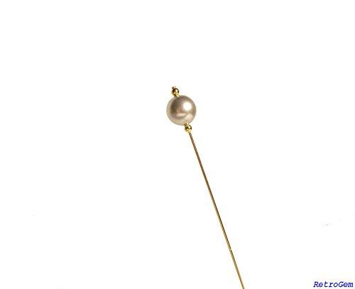 RetroGem 12mm Pearl Gold Tone Hat Pin Made With Swarovski Elements Pearl (Light Gray) Swarovski Crystal Pearl Pin Brooch