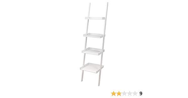 Estantería estilo escalera con 4 estantes, de madera, estantería de pared, para libros