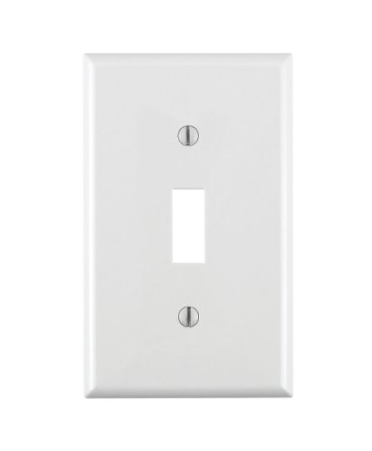 Leviton 80701-W 1-Gang Toggle Device Switch Wallplate, Standard Size, Thermoplastic Nylon, Device Mount, White
