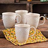 Charming Antique Style Farmhouse Lace Mug Set (LINEN)