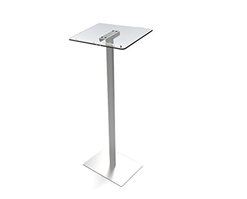 FixtureDisplays Acrylic Podium for Floor, Aluminum Pole & Base - Clear & Silver 119741-NF by FixtureDisplays