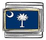 South Carolina State Flag Italian Charm Bracelet Link 9mm Italian Charm Patriotic Flag
