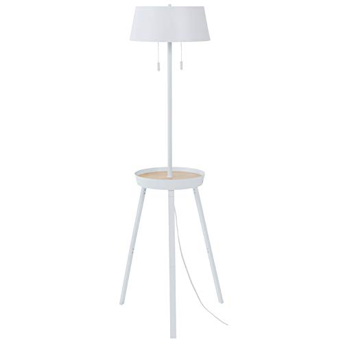 "Rivet Modern Shelving/Storage Space Floor Lamp with USB and Bulb, 59""H, White"
