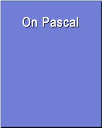 On Pascal (Wadsworth Philosophers Series)