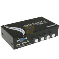 4 Way USB KVM Manual Switch Box with Audio (Monitor, Keyboard, Mouse)