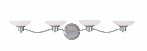 Triarch 25863-BS Halogen VI Collection 4-Light Vanity Fixture, Brushed Steel Finish with White Art Glass ()