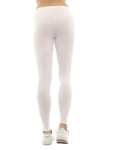 Bianco unita Tinta Leggings Donna SYS B0w6q4B