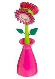 Flower Kitchen Dish Scrub Brush With Holder Set Of 2