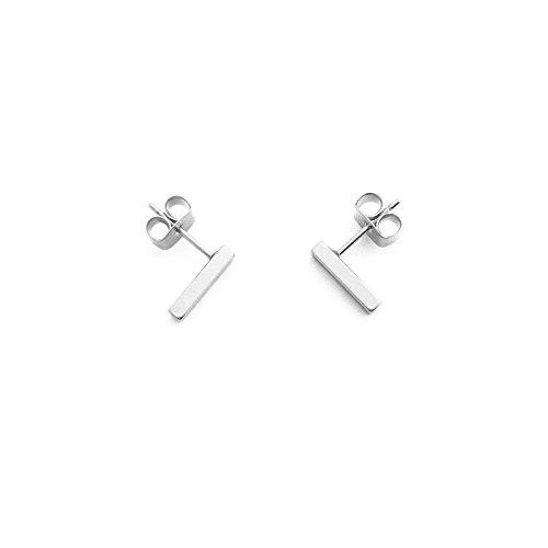 HONEYCAT Flat Drop Bar Stud Earrings in Silver (Rhodium Plate) | Minimalist, Delicate Jewelry (Silver)